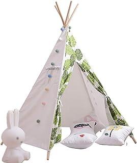 XBR Mini barntält, tält indiskt tält med gröna växtmönster, vardagsrum dekorativ tekopp inomhus balkong tält/fritid hörn –...
