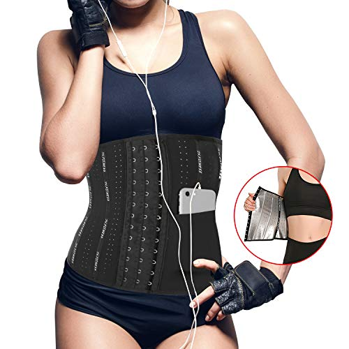 JX FITNESS Sauna Waist Trainer Trimmer for Women Weight Loss, Sweat Belt Corsets Cincher with Pocket, Sports Girdle Nano Silver Coating Workout Body Shaper for Stomach and Back Lumbar Support