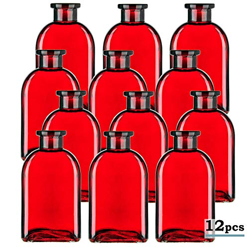 Glassnow C6054G06-N Roma Glass Bottle No Cork, 8.5oz, Red, 12 Pieces