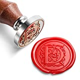 Mceal Wax Seal Stamp, Silver Brass Head with Wooden Handle, Regal Letter D