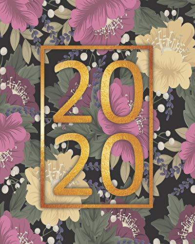 agenda 2020: planificador semanal y mensual 1 de enero 2020 al 31 de diciembre de 2020 mas vista de calendario y cubierta floral