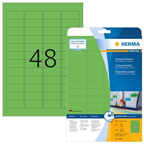 HERMA 4369 Farbige Etiketten DIN A4 ablösbar (45,7 x 21,2 mm, 20 Blatt, Papier, matt) selbstklebend, bedruckbar, abziehbare und wieder haftende Farbetiketten, 960 Klebeetiketten, grün