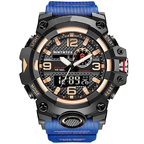 Reloj de Hombre Deportivo Reloj Digital de Acero Inoxidable Negro 50 M Analógico de Doble dial Dual Impermeable (Negro) Envíe una Hermosa Caja, un Regalo imprescindi Wash Blue