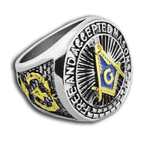 Masonic Rings for Men - Blue Lodge - Duo-Tone Gold Icons Silver Color Band. Freemason Ring Blue Mason Symbol Free and Accepted Masons - Freemason Jewelry (Size 11)
