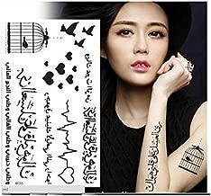 Arabic Word Temporary Tattoos Black Cage Bird Parrot Love Waterproof Sticker Islamic Persian Muslim Decor Mubarak EID Wave Heart Punk