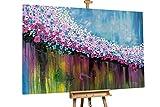 Kunstloft® Extraordinario Cuadro al óleo 'Fiesta' 180x120cm | Original Pintura XXL Pintado a Mano sobre Lienzo | Abstracto Azul Fucsia | Mural de Arte Moderno