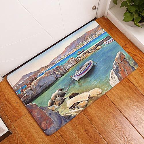 Vintage Europa vissersboot Pier schilderij Mat bad tapijt decoratieve antislipmatten kamer auto vloer Bar tapijten deur Home Decor Gift-met_40 * 60