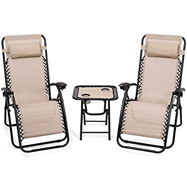 Giantex 3 PCS Zero Gravity Chair Patio Chaise Lounge Chairs Outdoor Yard Pool Recliner Folding Lounge Table Chair Set(Beige)