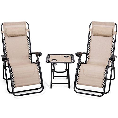 Tangkula 3PCS Juego de Silla de Jardín Plegable Chaise Lounge Tumbona Set de Silla y Mesa para Patio al…
