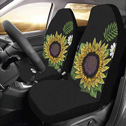 Artsadd Sunflower Daisy Fabric Car Seat Covers (Set of 2) Best Automobile Seats Protector