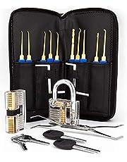 Lockslinger ® Lockpicking Set - Dietrich Set met twee moeilijkheidsniveaus om te oefenen, inclusief transparant slot, gratis e-book met nuttige tips