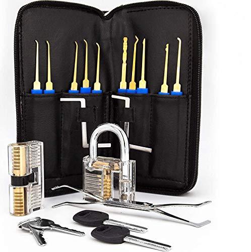 Lockslinger ® Lockpicking Set - Dietrich Set mit zwei Schwierigkeitsstufen zum Üben - inklusive transparentem Schloss - gratis E-Book mit hilfreichen Tipps