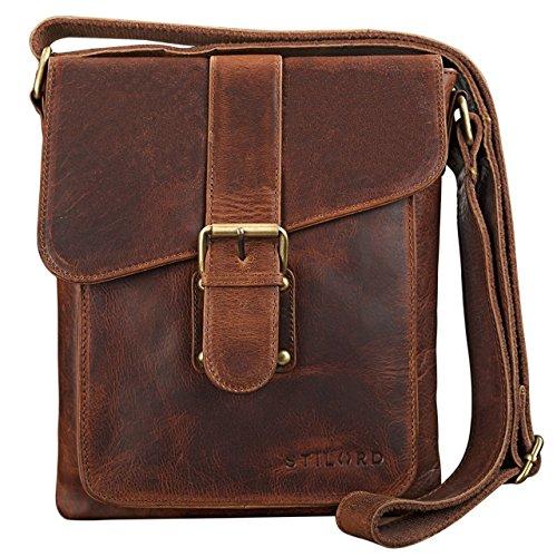 STILORD 'Mattia' kleine Umhängetasche Herren Leder Vintage iPad Hülle 10,1 Zoll Tablettasche Schultertasche Messenger Bag Rindsleder Antik, Farbe:Kara - Cognac
