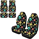 Pensura Cute Colorful Cartoon Corgi Paws Car Accessories 2pc Front Seat Cover and 4pc Floor Mat for Driver Passenger Interior Decorative Auto Universal Fit Vehicle