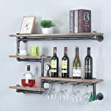 TMGY Industrial Pipe Shelf Wine Racks with 4 Stem Glass Holder,Rustic Metal Floating Bar Shelves Wall Mounted,Steampunk Pipe Shelving Kitchen Wine Holder,39.37in Farmhouse Wood Shelves Wall Shelf
