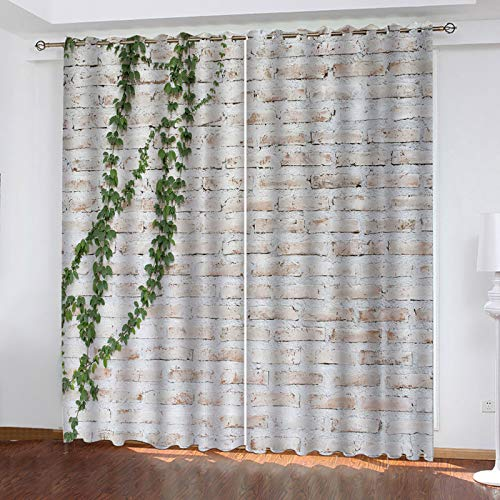 KLily Round Hole Through The Pole Curtain Stone Single-Sided Printing Wall Shading Bedroom Heat Insulation Curtain, Polyester Waterproof European Style Partition Curtain