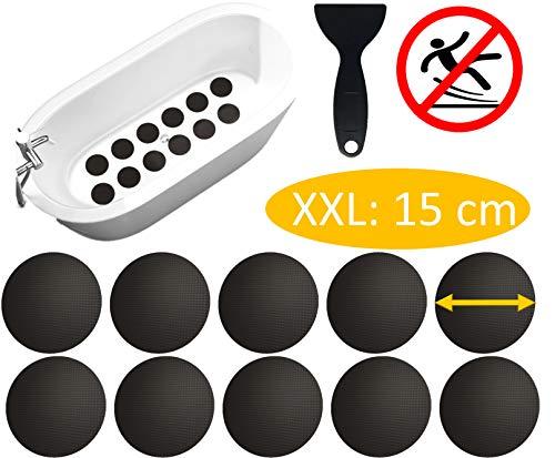cocofy Große Anti-Rutsch Sticker für Badewanne und Dusche Ø 15 cm XXL Pads, schwarz, rund, Anti Rutsch Aufkleber als rutschfeste Antirutschmatte in der Dusche auch für Kinder, 10-Pack