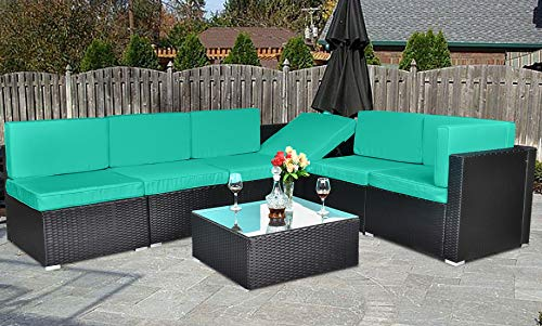 7-Piece Patio Furniture Sectional Sofa, Outdoor All-Weather PE Rattan Wicker Conversation Set, Outdoor Furniture Sofa Set with Cushion & Glass Table, Indoor & Outdoor Use