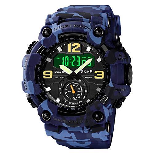 Flytise Reloj Deportivo Digital para Hombre Classic 5ATM Reloj Deportivo a Prueba de Agua con Alarma Cronómetro Retroiluminación LED Reloj de Pulsera analógico electrónico con Doble Pantalla Formato