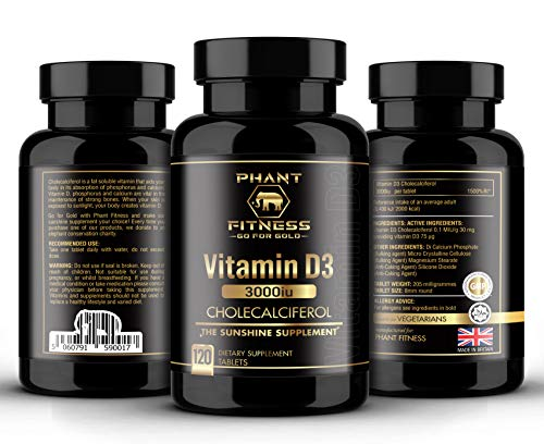 Vitamin D3 3000iu | High Strength Sunshine Supplement | Cholecalciferol | 120 Day Supply | Vegetarian | Halal