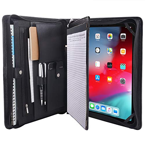 Zipper Leather Portfolio with Notepad Holder,Business Writing Padfolio Case for iPad Pro 12.9-inch 2018/2020