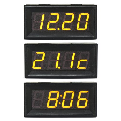 DEOK MCU 200V auto voltmetro termometro dell'orologio 0.56 'Giallo Display Panel Voltage Meter Time Monitor Temperatura Tester Volt Tempo Temp 3in1 Testing Meter