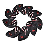 COOLSKY 9PCS Golf Iron Head Cover Shark Cartoon Animal Design Pattern Thick Synthetic Leather Iron Headcover Black Set