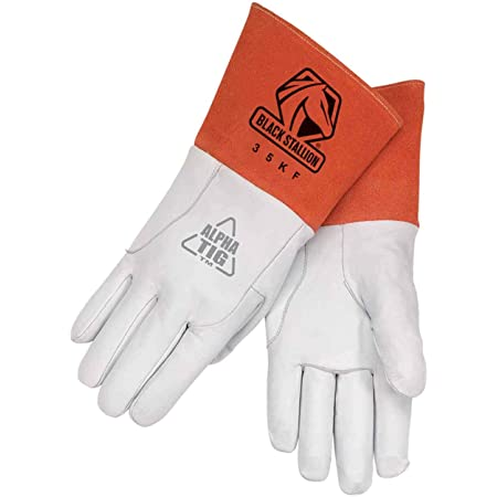 Premium White Goatskin Leather Defiant Metal TIG Welding Gloves Medium
