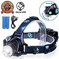 Rechargeable Headlamp, Hard Hat Light - Adults LED Headlamp Flashlight, Perfect Headlamps for Camping, Head Lamps for Adults, Head Flashlight, Lamparas Recargables.