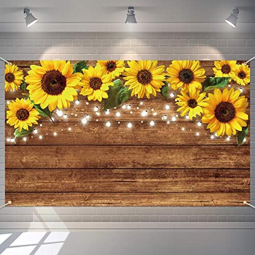 Sunflowers Rustic Photography Background Sunflower Brown Backdrop Photography Prop Wall Backdrop Background Banner for Photo Studio Decoration  Home Decoration  Wedding or Party Supply