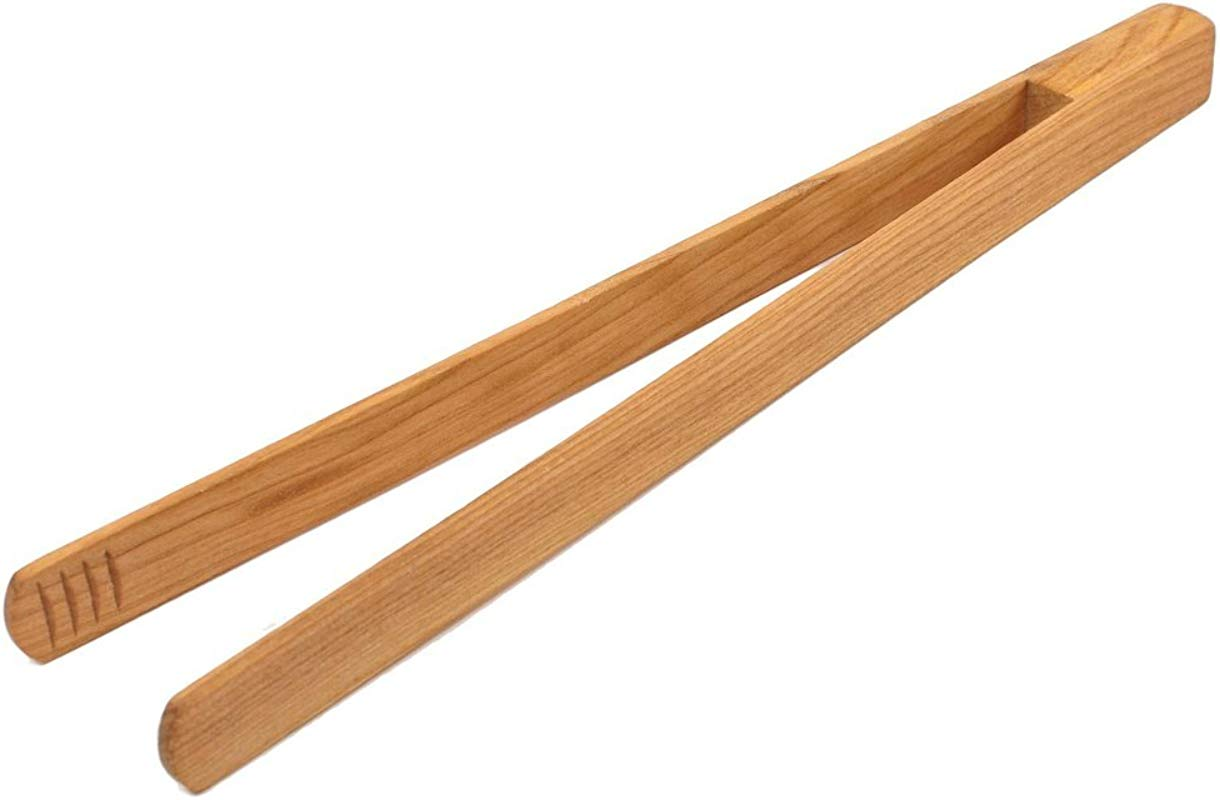BICB Premium Cherry Wooden Tongs 12 Long Easy Grip Toaster Tongs