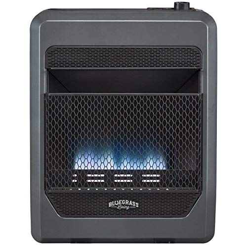Bluegrass Living Bluegrass B20TPB-BB Vent Free Blue Flame Gas Space Heater with Blower and Base Feet-20,000, T-Stat Control, 20000 BTU, Black heaters Patio