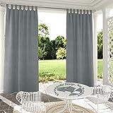 Clothink Outdoor Vorhänge Aussenvorhang B:132xH:215cm mit Klettbänder Ohne Bohren Winddicht Wasserabweisend Sichtschutz Sonnenschutz UVschutz Grau