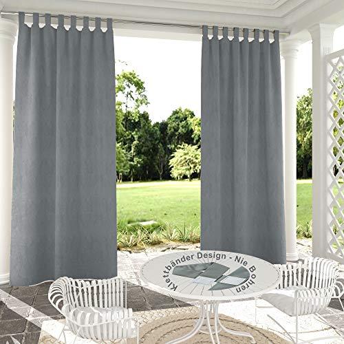Clothink Outdoor Vorhänge Aussenvorhang B:132xH:305cm mit Klettbänder Ohne Bohren Winddicht Wasserabweisend Sichtschutz Sonnenschutz UVschutz Grau