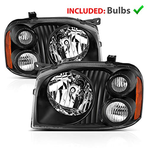 AmeriLite 2001-2004 Black Replacement Headlights Assembly for Nissan Frontier D22 Base/SE/SC/XE (Pair) w/Hi/Lo Beam Bulb