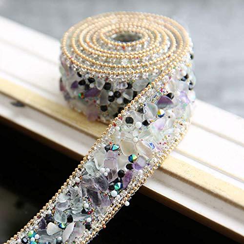 WQTR Velo De Novia 2,5 cm Cadena de taladrado en Caliente Ribete de Encaje Cristal de Diamante Cadena de Diamante de Piedra Rhinestone Cordillo DIY Nupcial decoración de la Boda Velo