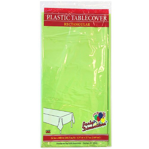 Party Dimensions Single Count Rectangular Plastic Tablecover, 54 by 108-Inch, Lime Green