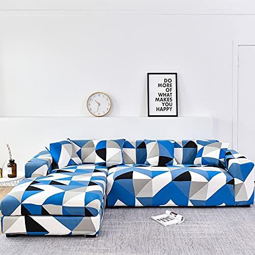 WXQY Funda de sofá de Esquina en Forma de L Funda de sofá elástica con Todo Incluido Funda de sofá de combinación de Esquina Funda de protección de Muebles A8 2 plazas