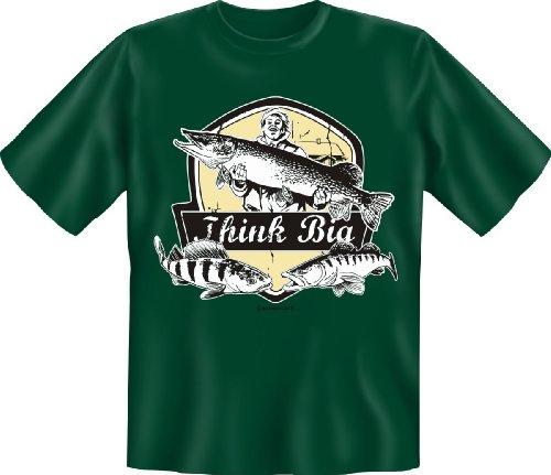 Angler T-Shirt Think Big Angel Fun Shirt Geburtstag-Geschenk geil Bedruckt mit Angler-Urkunde