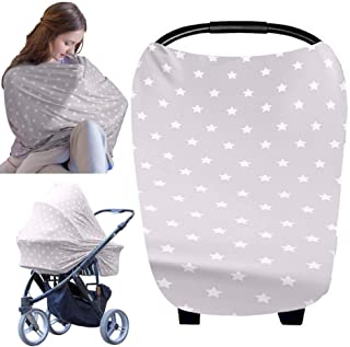 Baby Car Seat Canopy Nursing Cover - All-in-1 Multi Use Nursing Covers - Carseat Canopy - Breastfeeding Scarf - Stroller Covers - Shopping Cart Hammock - Perfect Gift for Pregnant Moms (Starry Charm)