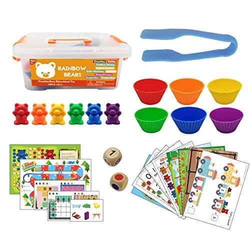 ZJL220 Juguete Montessori para niños, 1 juego de contador en caja de oso Montessori Educational