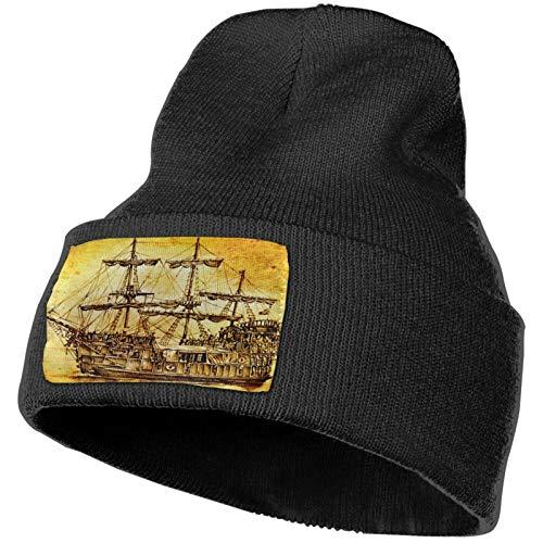 AROVON Patrones de deporte para adultos de punto sombrero de moda Beanie Cap antiguo barco mar motivos patrones de dibujo para sombreros de calavera unisex