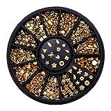 Multa 12 cuadrículas Hollow Studs Nail Art Rhinestone Gold Silver Clear Flat Fondo Forma Mediosa DIY Decoración de arte de uñas 3D para decoración de uñas (Color : F)