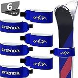6 Piezas Gancho y Bucle Cinta de Sujeción Correas de Esquí Correas Envolturas Ajustables de Esquís para Familias Hombre Mujer Niños (Azul)