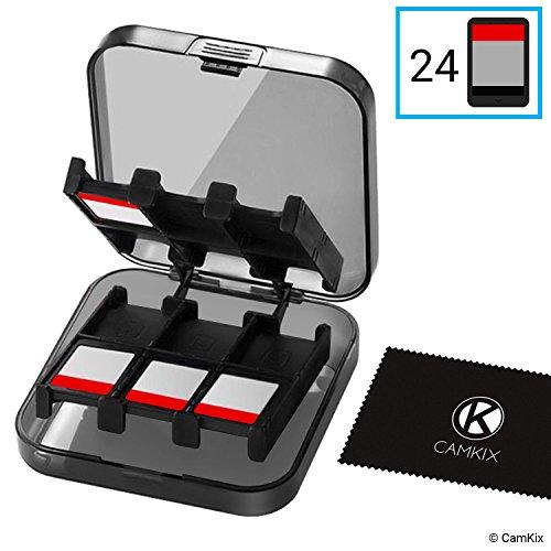 CamKix Spiele-Etui kompatibel mit Nintendo Switch - Passend für bis zu 24 Nintendo Switch Spiele - Aufbewahrungssystem - Spielkarten-Organizer - Reisebox - Hartschalen-Set mit 24 Slots / Inserts