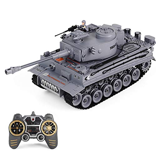 FADY RC Panzer, Ferngesteuerter Militärpanzer German Tiger mit Schussfunktion 1:18 mit Licht, Rauch&Sound -2,4Ghz