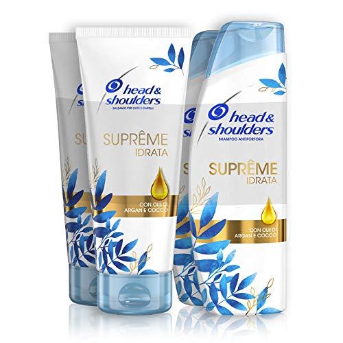 Shampoo Head & Shoulders e Balsamo Capelli Suprême Idrata Antiforfora, Con Olio Di Argan 2 x 225 ml + 2 x 220 ml, Shampoo Capelli Secchi, Shampoo Lisciante