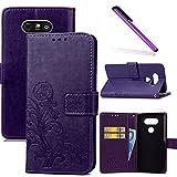 COTDINFOR LG G5 Funda trébol Cierre Magnético Billetera con Tapa para Tarjetas de Cárcasa Elegante Retro Suave PU Cuero Caso Protectora Case para LG G5 Clover Purple