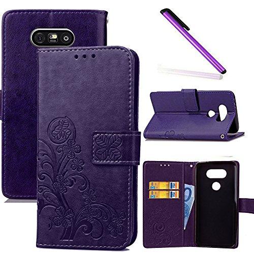 COTDINFOR LG G5 Stylus Hülle für Mädchen Elegant Retro Premium PU Lederhülle Handy Tasche im Bookstyle mit Magnet Standfunktion Schutz Etui für LG G5 Clover Purple SD