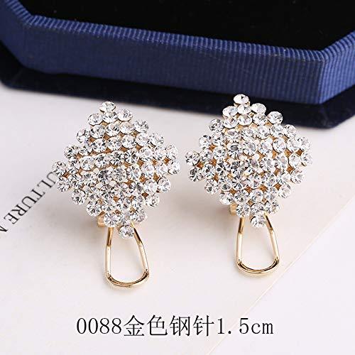 925 Sterling Silver All-match Earrings Earrings Temperament Rhinestone Diamond Earrings Girls Earrings Earrings Earrings 0088 golden steel needle 1.5cm